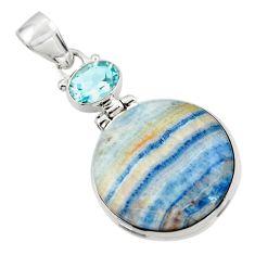 16.75cts natural blue scheelite (lapis lace onyx) 925 silver pendant r45960