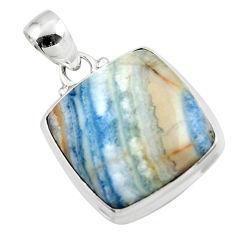 16.92cts natural blue scheelite (lapis lace onyx) 925 silver pendant r46414