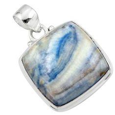 19.60cts natural blue scheelite (lapis lace onyx) 925 silver pendant r46425