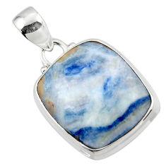 14.07cts natural blue scheelite (lapis lace onyx) 925 silver pendant r46426