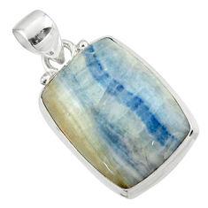 14.33cts natural blue scheelite (lapis lace onyx) 925 silver pendant r46427