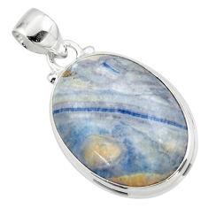 15.55cts natural blue scheelite (lapis lace onyx) 925 silver pendant r46430
