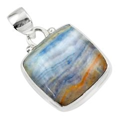 12.40cts natural blue scheelite (lapis lace onyx) 925 silver pendant r46431