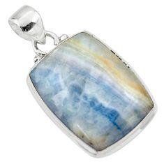 17.45cts natural blue scheelite (lapis lace onyx) 925 silver pendant r46432