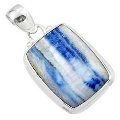 13.47cts natural blue scheelite (lapis lace onyx) 925 silver pendant r46439