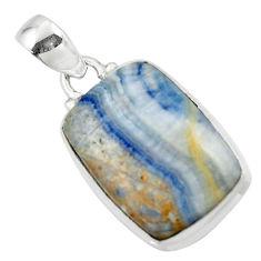 14.05cts natural blue scheelite (lapis lace onyx) 925 silver pendant r46440