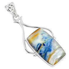 18.15cts natural blue scheelite (lapis lace onyx) 925 silver pendant r94645