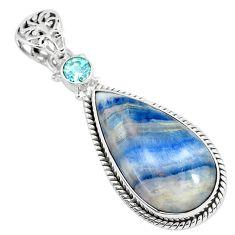 18.15cts natural blue scheelite (lapis lace onyx) 925 silver pendant r94646