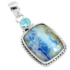 15.08cts natural blue scheelite (lapis lace onyx) 925 silver pendant r94648