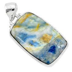 22.59cts natural blue scheelite (lapis lace onyx) 925 silver pendant r94810