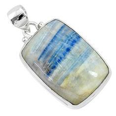 18.17cts natural blue scheelite (lapis lace onyx) 925 silver pendant r94820