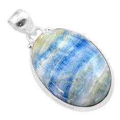 18.68cts natural blue scheelite (lapis lace onyx) 925 silver pendant t38613