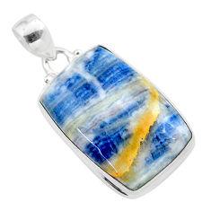 21.42cts natural blue scheelite (lapis lace onyx) 925 silver pendant t38619