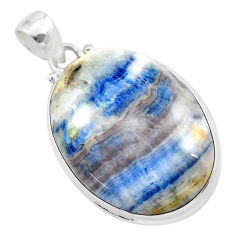 26.16cts natural blue scheelite (lapis lace onyx) oval 925 silver pendant t38606