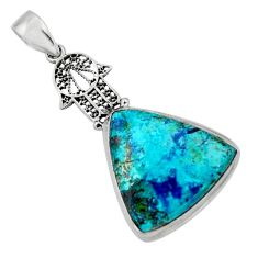 15.65cts natural blue shattuckite 925 silver hand of god hamsa pendant r50460