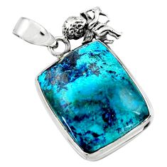 19.72cts natural blue shattuckite 925 sterling silver angel pendant r50438