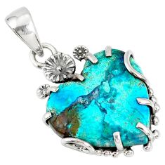 14.18cts natural blue shattuckite 925 sterling silver flower pendant r77853