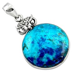 18.15cts natural blue shattuckite 925 sterling silver owl pendant jewelry r50437