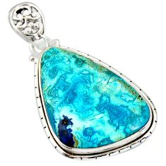 21.48cts natural blue shattuckite 925 sterling silver pendant jewelry r20845