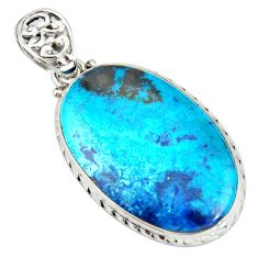 25.57cts natural blue shattuckite 925 sterling silver pendant jewelry r20846