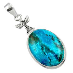 18.15cts natural blue shattuckite 925 sterling silver pendant jewelry r50425