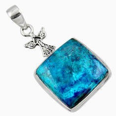 18.70cts natural blue shattuckite 925 sterling silver pendant jewelry r50427