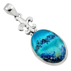 17.22cts natural blue shattuckite 925 sterling silver pendant jewelry r50429