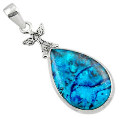 16.20cts natural blue shattuckite 925 sterling silver pendant jewelry r50430