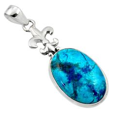 16.73cts natural blue shattuckite 925 sterling silver pendant jewelry r50433