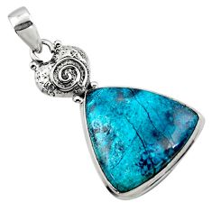 18.70cts natural blue shattuckite 925 sterling silver pendant jewelry r50436