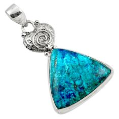 19.72cts natural blue shattuckite 925 sterling silver pendant jewelry r50448