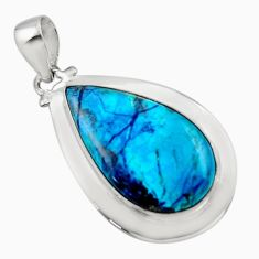 18.47cts natural blue shattuckite 925 sterling silver pendant jewelry r50450