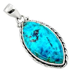 16.06cts natural blue shattuckite 925 sterling silver pendant jewelry r50470