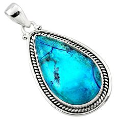 17.42cts natural blue shattuckite 925 sterling silver pendant jewelry r50475