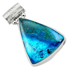 16.87cts natural blue shattuckite 925 sterling silver pendant jewelry r50477