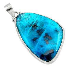 25.00cts natural blue shattuckite 925 sterling silver pendant jewelry r50485