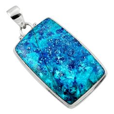 22.87cts natural blue shattuckite 925 sterling silver pendant jewelry r50487