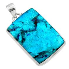21.50cts natural blue shattuckite 925 sterling silver pendant jewelry r50497