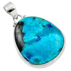 17.57cts natural blue shattuckite 925 sterling silver pendant jewelry r50501