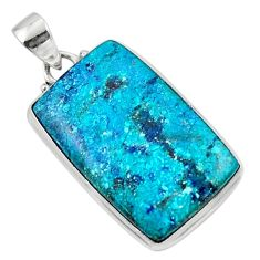 17.22cts natural blue shattuckite 925 sterling silver pendant jewelry r50506