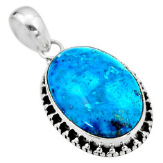 14.72cts natural blue shattuckite 925 sterling silver pendant jewelry r53841