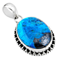 15.65cts natural blue shattuckite 925 sterling silver pendant jewelry r53842