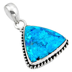11.55cts natural blue shattuckite 925 sterling silver pendant jewelry r53844