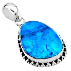 15.05cts natural blue shattuckite 925 sterling silver pendant jewelry r53846