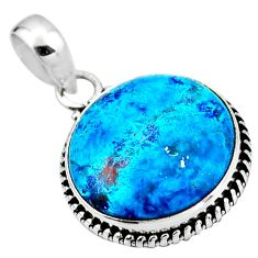 15.05cts natural blue shattuckite 925 sterling silver pendant jewelry r53847