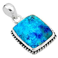 14.23cts natural blue shattuckite 925 sterling silver pendant jewelry r53848