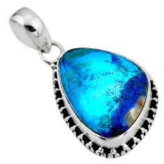 13.15cts natural blue shattuckite 925 sterling silver pendant jewelry r53850