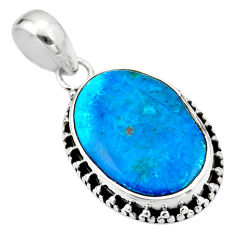 13.15cts natural blue shattuckite 925 sterling silver pendant jewelry r53851