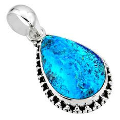 11.20cts natural blue shattuckite 925 sterling silver pendant jewelry r53852