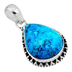 13.70cts natural blue shattuckite 925 sterling silver pendant jewelry r53854